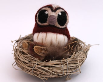 Needle Felted Tawny Owl Felt Mini Bird in Chestnut Brown, Felt Bird, Felt Owl Decoration