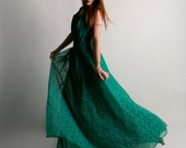 Vintage Emma Domb Dress - Emerald Green Holiday Party Dress - Prom - Large