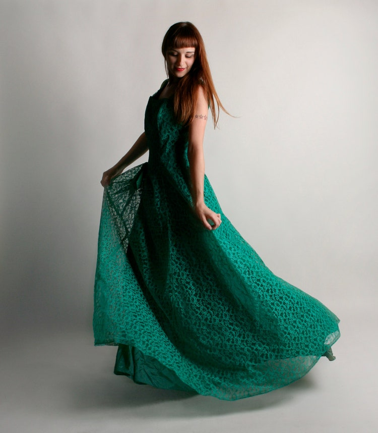 Vintage Emma Domb Dress Emerald Green Holiday Party By Zwzzy
