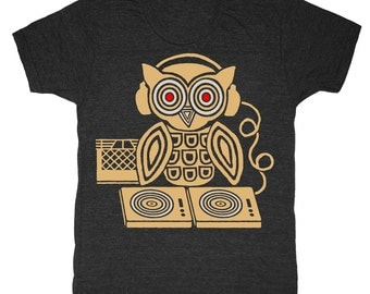 Headphones Owl - Unisex Mens T-Shirt Tee Shirt Records Bird DJ Crate Retro Spinning Musician Turntable Awesome Music Tri Black Music Tshirt