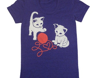 Kittens - Womens Girls T-Shirt Tee Shirt Red Yarn Adorable Love Heart Cute Cat Kitten Kitties Kitty Valentines Animals Cats Blue Tshirt