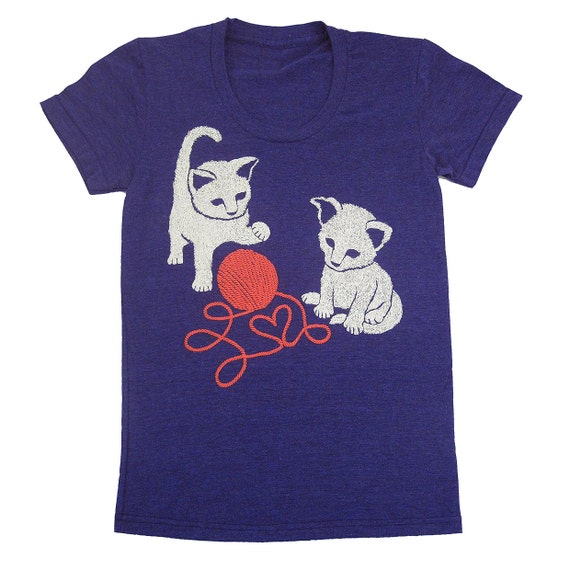 Kittens - Womens Girls T-Shirt Tee Shirt Red Yarn Adorable Love Heart Cute Cat Kitten Kitties Kitty Valentines Animals Cats Blue Tshirt