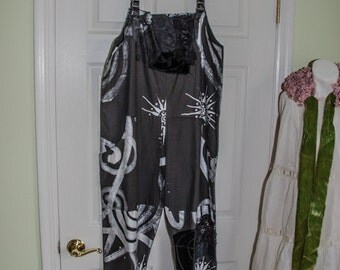 Vintage Handpainted 1980's Black Artisan Jumpsuit Lace