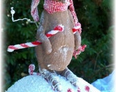 MOUSE, WEEEEEEEEEEEEE, Snowball, Skiing, Primitive,Folk Art, Doll, Pattern by Pea