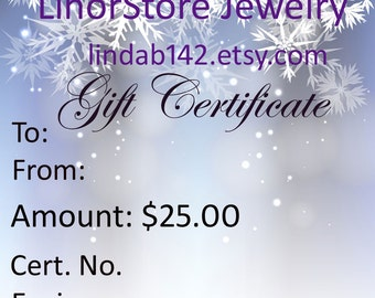 Gift Certificate, Jewelry Gift Card
