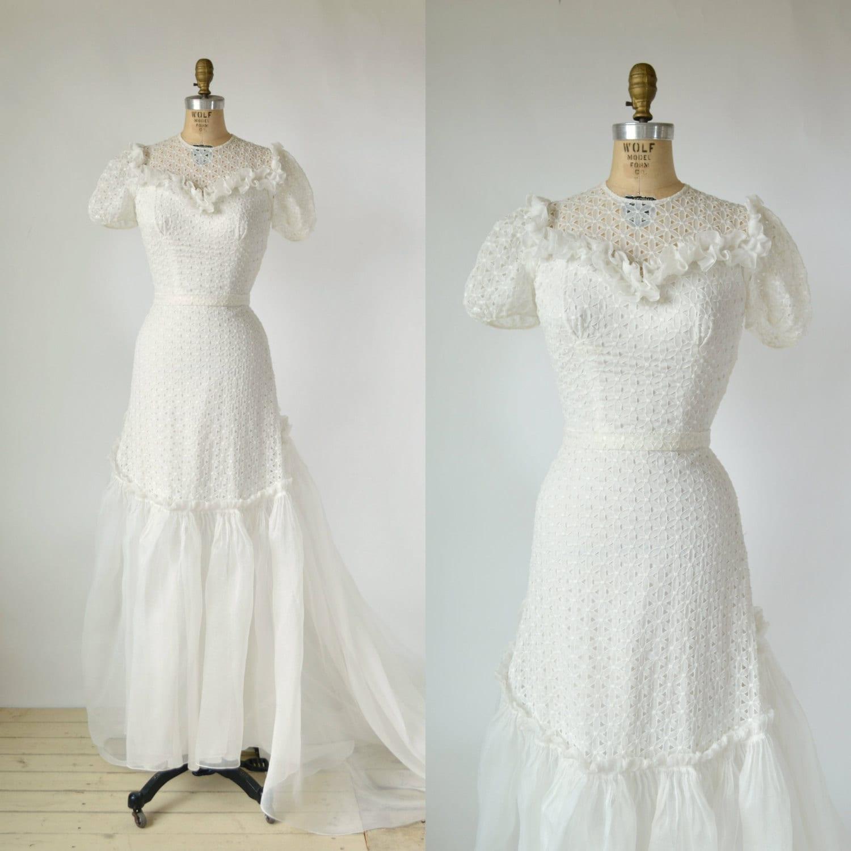 1940s Wedding Dress Vintage Mindelle White Cotton Organza