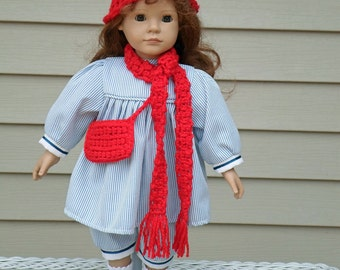 Red Hat, Purse, Scarf for Sock Monkey or American Girl Doll, 18 inch doll accessories