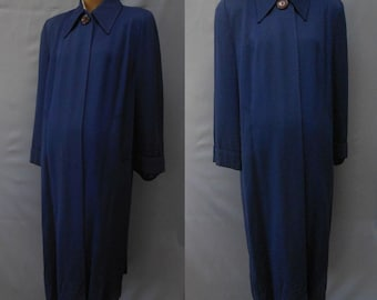 Vintage 40s Swing Coat, 1940s Blue Wool Garbadine Gab Clutch Coat, Size M, L, XL