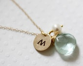 Initial Necklace Personalized Necklace Hand Stamped Gold Filled Necklace March Birthstone