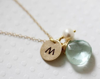 March Birthstone Necklace Initial Necklace Personalized Necklace Hand Stamped Gold Filled Necklace March Birthstone
