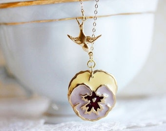Purple Pansy Necklace with Gold Bird Pansy Jewelry Bridesmaid Gift