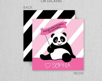 Panda Stickers or Cardstock Gift Tags . Panda Birthday Party . for Favors, Treat Bags and Envelope Seals