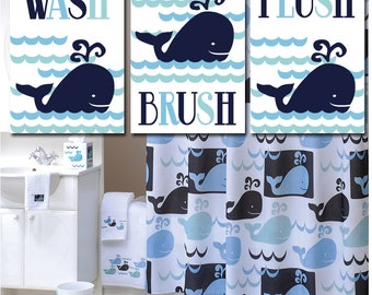 WHALE BATHROOM Wall Art, Canvas or Prints Whale Watch, Happy Whale Bathroom Wall Art, Nautical Bathroom, Set of 3 Child Bathroom Decor
