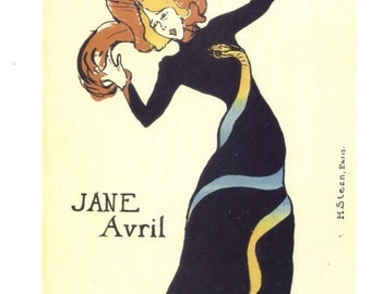 French Poster Jane Avril by Toulouse-Lautrec - Oversized Postcard to Frame or for Paper Arts, Collage, Scrapbooking and MORE PSS 2239