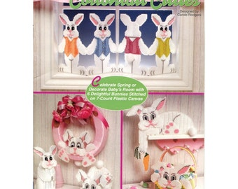Cottontail Cuties - Easter Plastic Canvas Pattern - Bunny Basket / Shelf Sitter / Bunny Wreath - Needlecraft Shop 933108