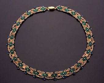 Majestic Beaded Necklace with Swarovski Crystals in Colors of Gold, Bronze, Emerald Green and Dark Metallic Blue. Plus Free Earrings S221