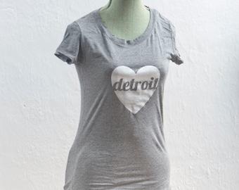 Women's T-Shirt / Detroit Love Tee / Heather Grey / Sizes S-XL