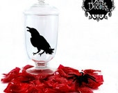 Glass Candy Jar - Sweet Raven - Home Decor - Apothecary Jar - Goth - Gifts under 50