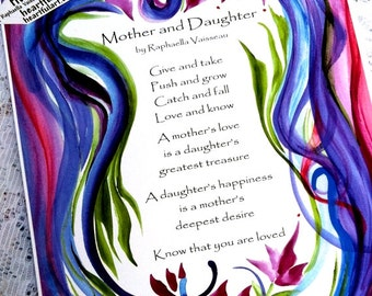MOTHER and DAUGHTER Original Poem Inspirational Quote Family Mom Mother's Day Saying Birthday Baby Gift Heartful Art by Raphaella Vaisseau