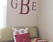 Three Initial Classic Monogram Wall Decal for Bedroom Decor - Vinyl Wall Decal - Removable and Customizable for any Bedroom