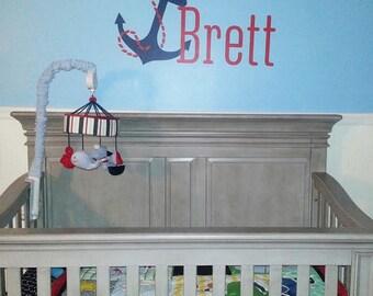 Anchor Name Wall Decal • Name Wall Decal • Nautical Monogram Wall Decal • Nursery bedroom boy girl • Coastal Beachy Decor Made in USA