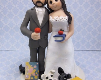 Teacher Bride and Groom Wedding Cake Topper, Custom wedding cake topper, personalized cake topper,  Mr and Mrs cake topper