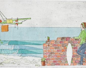 Skater Girl, watercolour and etching print, Beach house, Surf Art, Australiana, Collagraph