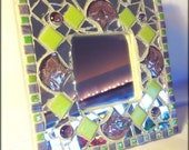 Mirror Mosaic Stained Glass Lime Green Purple Hanging Mixed Media Art