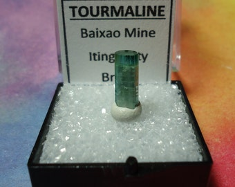 Rare CATSEYE TOURMALINE Bicolor Iridescent Blue Green Top Quality Terminated Gemstone Crystal In Perky Display Box From Brazil