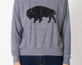 Bison women's tri-blend grey raglan AA pullover
