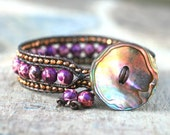 Purple Aqua Terra Jasper and Bronze Crystal Leather Wrap Cuff Handmade Bracelet