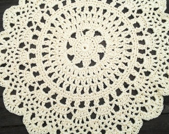 "Cream Outdoor Cord Crochet Rug in 35"" LAST ONE"