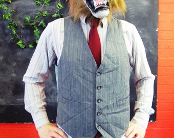 Vintage 1970s Traditional Grey Stripe Waistcoat w/ Matching Buttons Medium/Large