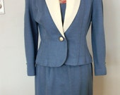 Vintage Leslie Fay Petite Collection Size 10 Dress Business Blue Skirt Suit with Contrast Shawl Collar Lapel Matching Button-in Insert