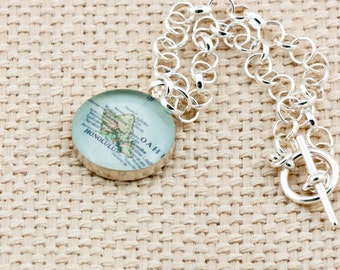 Sterling silver toggle bracelet with vintage map of Oahu