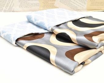 BABY BOY BLANKET /  Geometric satin print /  Baby Blue marakesh minky /  Elegant baby blanket / Gray and brown  prints unique design