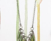Green Watercolor Enamel Teardrop Fringe Necklace