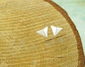 Sterling Silver. Dainty Triangular Pyramid Earrings in Silver, Gold, and Rose gold. Hypoallergenic, pyramid studs, simple studs, chic post