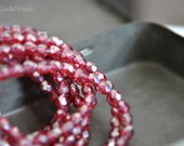 Last Listing - Little Shimmers - Czech Glass Beads, Translucent Fuchsia Pink, Luster, Firepolish, Facet Rounds 6mm - Pc 25