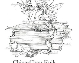 Lil Bookworm Fairy - Digital Stamp Instant Download / Book Cat animal Lil Sweetie Mia fairy by Ching-Chou Kuik