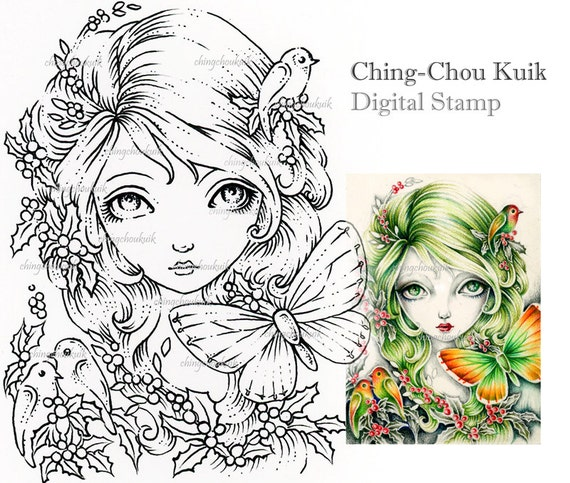 Crimson Holly - Digital Stamp Instant Download / Bird Butterfly Christmas Fantasy Art by Ching-Chou Kuik