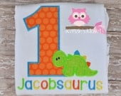 Dinosaurs Shirt - Dino Shirts First Birthday - 1st Birthday -  appliqué shirt - Personalized - Monogrammed - Boy or Girl - 2nd 3rd 4th 5th