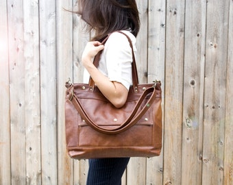 Leather Laptop Bag, Leather Tote, Professional Leather Bag, Attorney Bag, Chestnut Brown Leather Briefcase, Womens, Archive, Made to Order