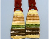 Uncut Hanging Kitchen Towels Fall Colors with Removable Holders