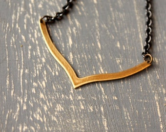 Brass Modern Layering Necklace / Mixed Metal Necklace / Raw Brass Arrowhead / Gunmetal Chain / Modern Necklace Simplistic