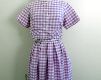 Sale vintage 50s skirt set / violet gingham 1950s skirt set /  checkered skirt set