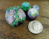 Spring Pastel Watercolor Handmade Lampwork Glass Bead Set. Jewelry Supply.  Matte Finish. Beads and Tab Focal. Pink. Purple. Aqua. LWS-55