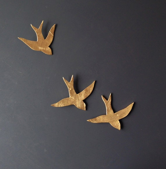 We Fly Together 3d Painting Gold Porcelain Wall Art Swallows
