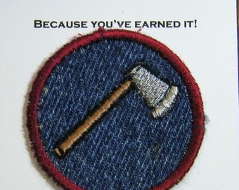 Axe or Hatchet Iron on Patch, merit badge Upcycled from Blue Jeans