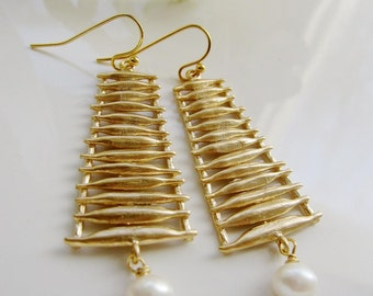 Pearl Teardrop, Gold Ladder Earrings, Abstract Tree Earrings, Pearl Drop, Gold Pendant, Gift for Her, Gardendiva